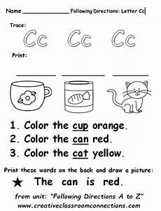 letter c for cat worksheets 24045 free following directions worksheet for the letter cc entire unit available at www