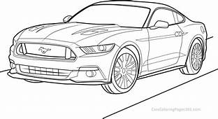 Ford Mustang GT  2015 Front View Coloring Page Free