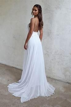 beautiful a line lace long white spaghetti straps beach wedding dress okdresses