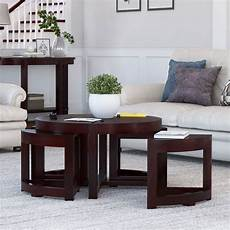 modern brown nesting cocktail coffee table with 4 wedge tables