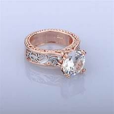 fashion glitter engagement rings for rose gold color wedding rings austrian