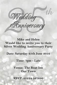 25 Wedding Anniversary Invitation Cards anniversary invitations 25th silver wedding anniversary