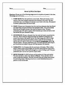 projects for the novel monster by walter dean myers by