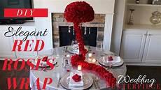 elegant red roses wrap wedding centerpiece diy red