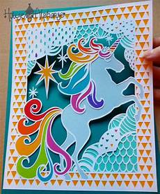Malvorlagen Unicorn Yellow Unicorn Papercut Design Personal Use Template Diy 切り絵