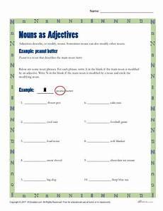 nouns as adjectives printable 3rd 4th grade nouns activity