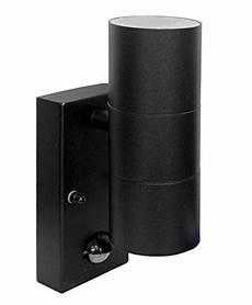 modern black external up down outdoor wall light pir motion sensor detector ip44 rated