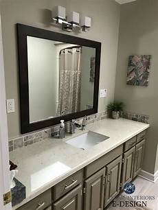 benjamin kingsport gray painted oak cabinets with revere pewter walls in bathroom with