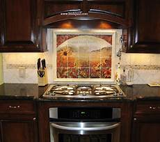 sunflowers tile backsplash by paul