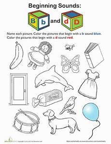 letter d beginning sound worksheets 24195 review beginning sounds b and d worksheet education