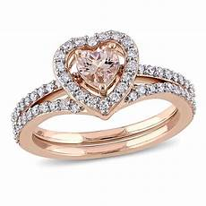 delmar jewelers 0 99ctw morganite and diamond heart design engagement ring and wedding band 10k