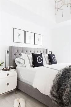 Bedroom Ideas Grey Headboard by Grey Tufted Headboard Light And Bright Bedroom Home