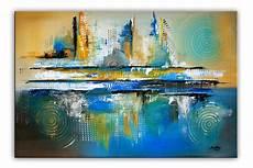 bilder modern oase original acryl bild gem 228 lde abstrakt blau gelb