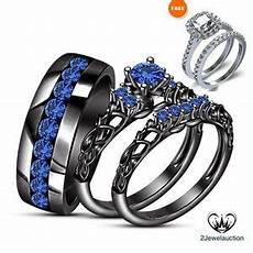 14k black gold over blue sapphire wedding band his her trio ring bridal sets ebay