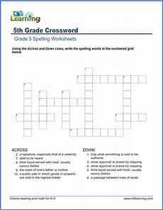 crossword worksheets for grade 5 k5 learning