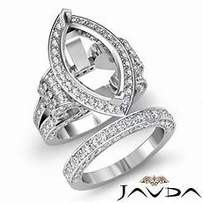 diamond engagement ring marquise bridal sets 14k gold white halo setting 4ct ebay