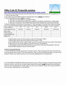 projectile motion simulation worksheet answer key db excel com