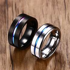 8mm black titanium ring for men wedding bands trendy rainbow groove rings jewelry usa size