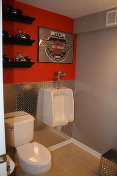 garage bathroom ideas cave bathroom the ideal bathroom for the and harley lover just a splash of orange