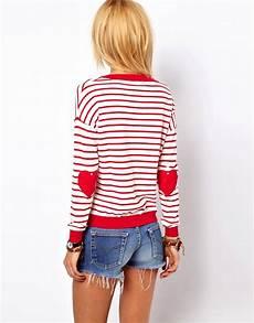 asos asos patch sweater in stripe at asos
