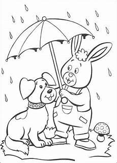 Ausmalbilder Hase Und Hund Ausmalbild Hase Und Hund Unter Dem Regenschirm