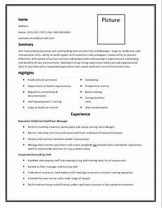 chef resume templates 6 free printable cv word templates