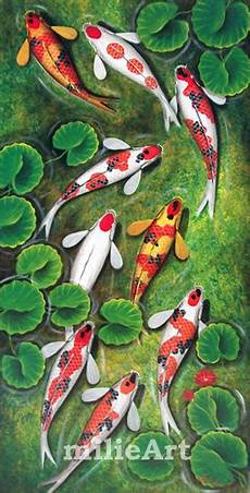 Jual Lukisan Ikan Koi 9 Ekor 60x120cm Mk 001 Milieart