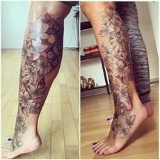 Beautiful Bottom Half Of A Leg Sleeve Tattoos