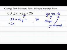 algebra change from standard form to slope intercept form 4 worked problems youtube