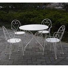 Salon De Jardin M 233 Tal Blanc 1 Table Ronde 4