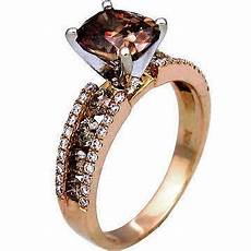 knock off wedding rings le vian knock off 2 62 ct cushion and round chocolate diamond engagement ring in 14k rose gold