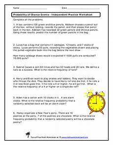 probability worksheets events 5758 probability of chance events independent practice worksheet worksheet for 6th 8th grade