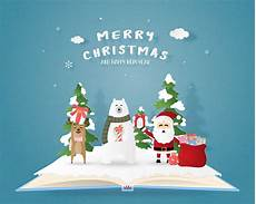 merry christmas and happy new year greeting card in paper cut style vector illustration