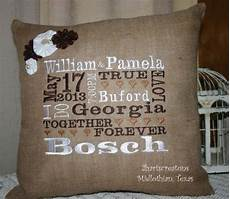 personalized burlap pillow wedding gift with widding date names time location subway
