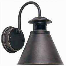 hton bay outdoor wall lantern with motion sensor rubbed bronze finish the home depot