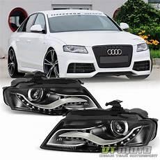 black 2009 2012 audi a4 s4 b8 halogen rs4 style led drl projector headlights ebay