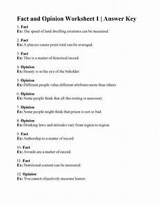 fact and opinion worksheet 1 answers