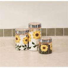 sunflower canisters for kitchen sunflower canisters set of 3 walmart