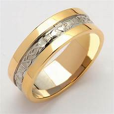 irish wedding ring men s white gold with yellow gold