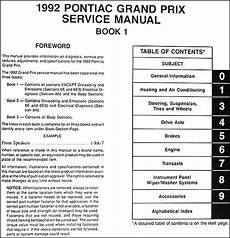 service manuals schematics 1992 pontiac grand prix spare parts catalogs 1992 pontiac grand prix repair shop manual original 3 volume set