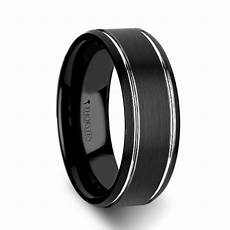w334 bbpb nocturne beveled black tungsten carbide band with brushed finish and polished grooves