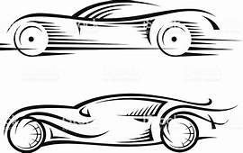 Black And White Outline Drawing Of Two Cars Stock Vector