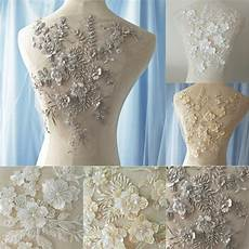 wedding dress 3d fabric flowers pearl beads lace sew on