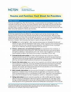 trauma and families fact sheet for providers the national child traumatic stress network