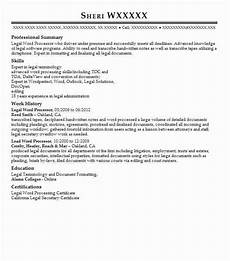 resume exles for word procesing legal word processor resume sle processor resumes livecareer