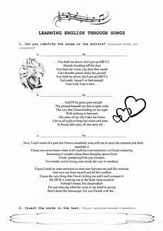 grammar worksheets for esl learners 25101 learning through songs worksheet free esl printable worksheets made by teachers