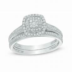 1 3 ct t w composite diamond double square frame vintage style bridal in 10k white gold