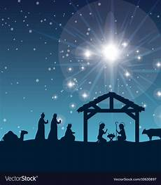 silhouette manger merry christmas isolated design vector image
