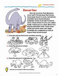 dinosaur grammar worksheets 15313 dinosaur clues reading passage and activity developing vocabulary printable skills sheets