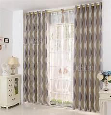 Beau Rideaux Salon Simple Moderne Bande Panne Tissu Ombre
